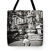 Boy At Statue In Sicily Tote Bag