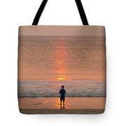 Boy At Sunrise Tote Bag