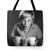 Boy Drinking Three Shakes At Once Tote Bag
