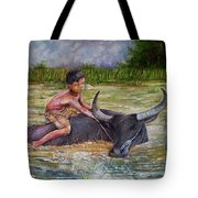 Boy In A Carabao Tote Bag