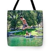 Boy Jumping Off The Board Into Dierkes Lake In Snake River Near Twin Falls-idaho   Tote Bag