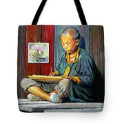 Boy Painting Lilies Tote Bag