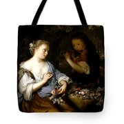 Boy Playing A Flute To A Young Woman Tote Bag