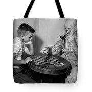 Boy Playing Checkers With Grandfather Tote Bag