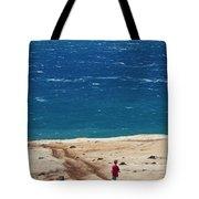 Boy Runs Toward Ocean Tote Bag