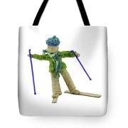 Boy Skiing In Burlap Crafts Tote Bag