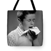 Boy Sneezing Tote Bag