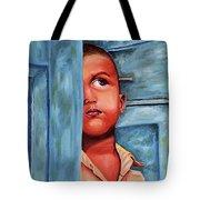 Boy Waiting At Door Tote Bag