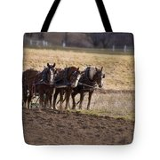 Boy Waiting With Horses Tote Bag