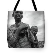 Boy With A Baby Tote Bag