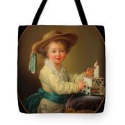 Boy With A House Of Cards                                   Tote Bag
