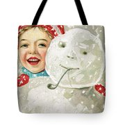 Boy With A Snowman Tote Bag