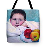 Boy With Apples Tote Bag