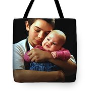 Boy With Bald-headed Baby Tote Bag