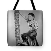 Boy With Huge Stack Of Toast, C.1950s Tote Bag