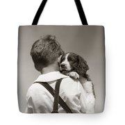Boy With Puppy, C.1930-40s Tote Bag