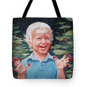 Boy With Raspberries Tote Bag