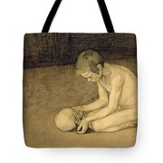 Boy With Skull Tote Bag