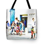 Boys In Medieval Dress With Group Of Women Tote Bag