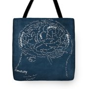 Brain Drawing On Chalkboard Tote Bag