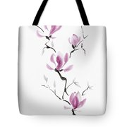 Branch Of Blooming Purple Magnolia Flowers Japanese Zen Sumi-e P Tote Bag
