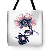 Branch With Flowers Roses Isolated. Vintage Grunge Background. C Tote Bag