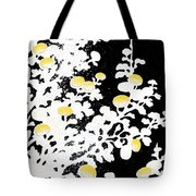 Branches Of White Yellow Leaves And Flowers At Night, Black Background Tote Bag