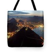 Brasil,rio De Janeiro,pao De Acucar,viewpoint,panoramic View,copacabana At Night Tote Bag by Juergen Held
