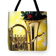 Brass Tuba With Red Roses Tote Bag