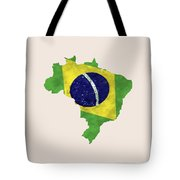 Brazil Map Art With Flag Design Tote Bag