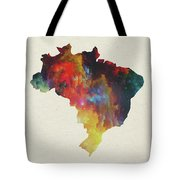 Brazil Watercolor Map Tote Bag