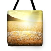Bread And Wheat Cereal Crops At Sunset Tote Bag