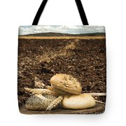 Bread And Wheat Ears. Plowed Land Tote Bag by Deyan Georgiev