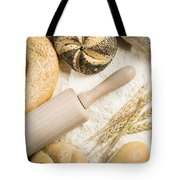Breads. Pile Of Flour, Rolling Pin And Wheat Tote Bag