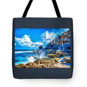 Breakers On The Rocks At Kenridgeview - On - Sea L A S Tote Bag