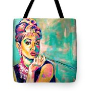 Audrey Hepburn Painting, Breakfast At Tiffany's Tote Bag