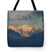 Breathtaking View Of The Italian Alps With A Cloudy Sky  Tote Bag