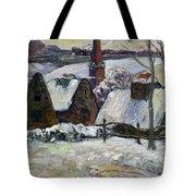 Breton Village Under Snow Tote Bag by Paul Gauguin