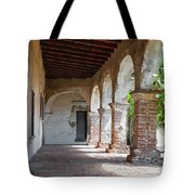 Brick And Stone Arches Line Walkway In Old Mission Ruin Tote Bag