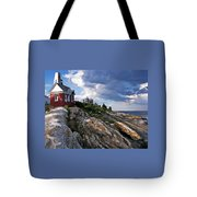 Brick Bell House At Pemaquid Point Light Tote Bag