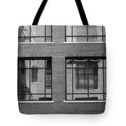 Brick Building Black And White Tote Bag