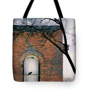 Brick Building Window With Bird Tote Bag