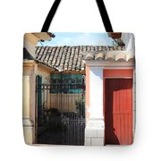 Brick House With Iron Gate Tote Bag