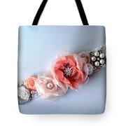 Bridal Sash Belt With Flowers And Rhinestones Tote Bag