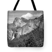 Bridalveil Falls From Tunnel View B And W Tote Bag