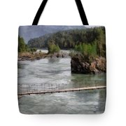 Bridge Across Mountain River Tote Bag