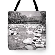 Bridge And Mountain Stream In Black And White Tote Bag