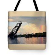 Bridge And Rainbow Over Seekonk River Tote Bag