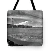 Bridge And Sea Black And White Tote Bag