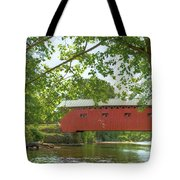 Bridge At The Green - Widescreen Tote Bag
